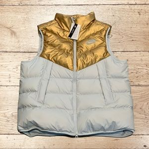 Nike Down Fill Loose Fit Vest Gold Grey Full Zip